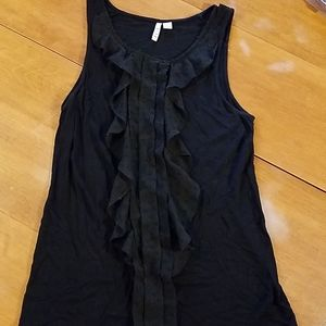 Elle black tank top with frill
